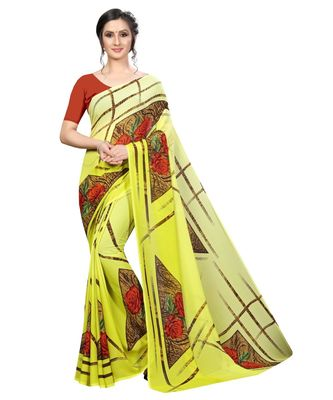 Lemon printed georgette saree with blouse