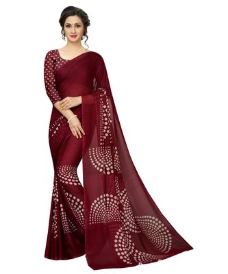 Wine printed georgette saree with blouse
