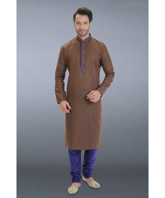 brown embroidered cotton kurta pajama