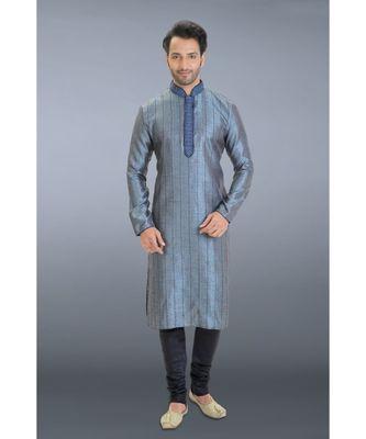 blue embroidered jacquard kurta pajama