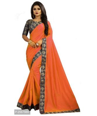 Orange Plain silk blend saree with blouse