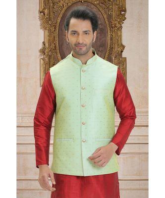 green woven raw silk nehru jacket