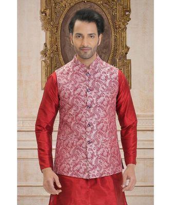 pink printed raw silk nehru jacket