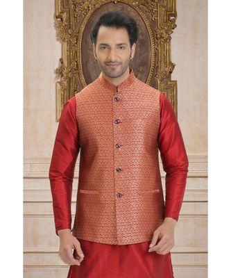 orange woven jacquard nehru jacket
