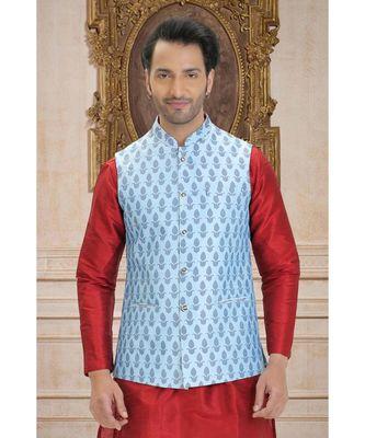 blue printed raw silk nehru jacket