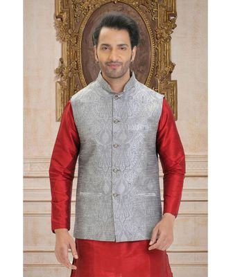 grey printed raw silk nehru jacket