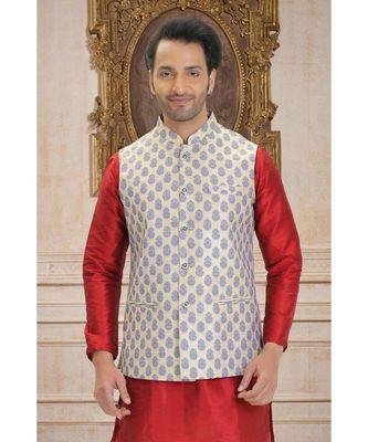 white woven jacquard nehru jacket