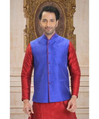 blue embroidered raw silk nehru jacket