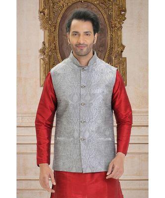 grey printed raw silk nehru jacket