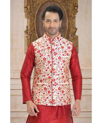 white hand woven bhagalpuri silk nehru jacket