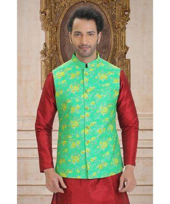 green printed polyester nehru jacket