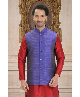 purple woven raw silk nehru jacket