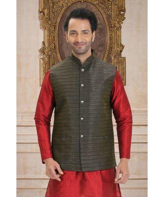 black woven raw silk nehru jacket
