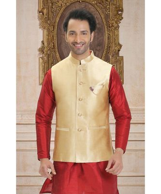 golden  woven raw silk nehru jacket