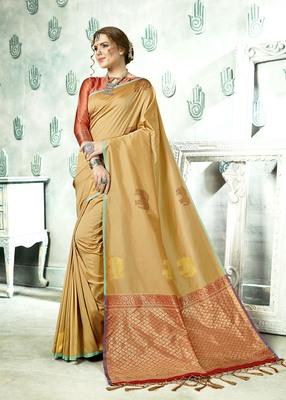 Beige printed kanchipuram silk saree with blouse