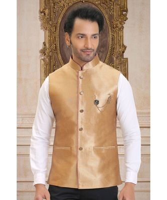 golden printed raw silk nehru jacket