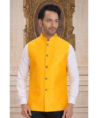 yellow embroidered bengal handloom nehru jacket