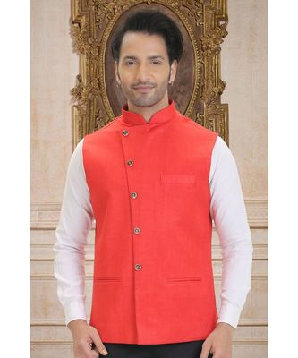 red woven bengal handloom nehru jacket