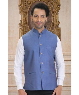 blue woven bengal handloom nehru jacket