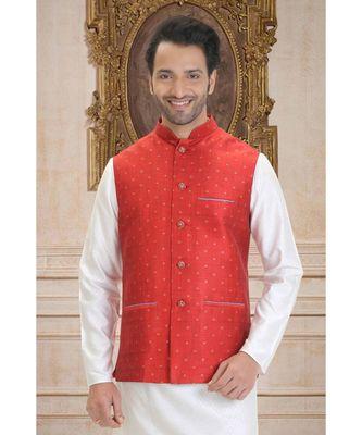red woven raw silk nehru jacket