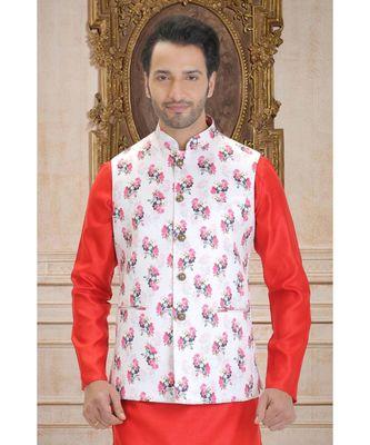 white printed polyester nehru jacket