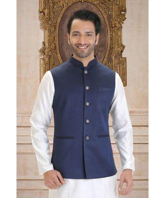 blue woven polyester nehru jacket
