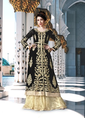 Black Embroidered Georgette Salwar
