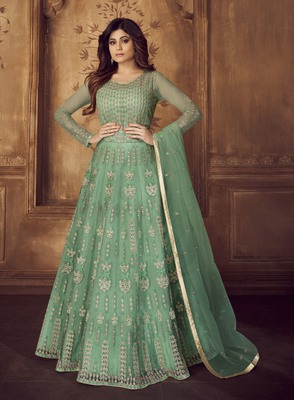 Light-green embroidered net salwar