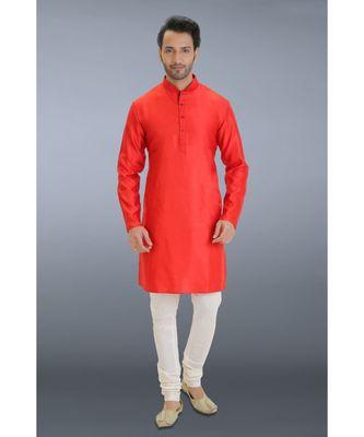 red woven cotton silk kurta pajama