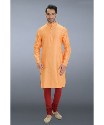 orange woven cotton silk kurta pajama