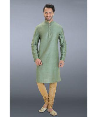 green woven cotton silk kurta pajama
