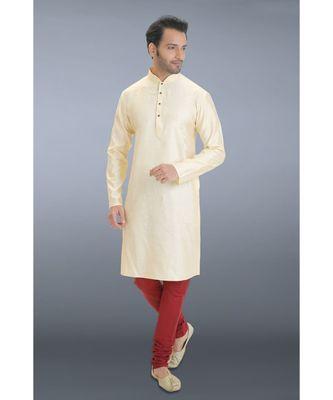 beige woven cotton silk kurta pajama