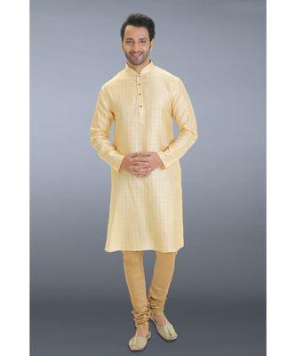 gold woven cotton silk kurta pajama