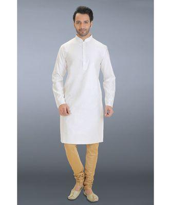 white woven cotton silk kurta pajama
