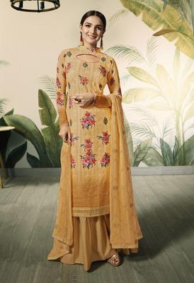 Mustard Embroidered Georgette Salwar