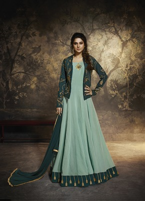 Light-green embroidered silk salwar