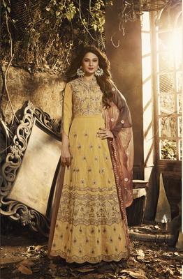 Yellow embroidered silk salwar