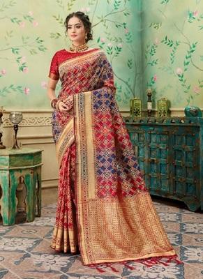 Crimson woven banarasi silk saree with blouse