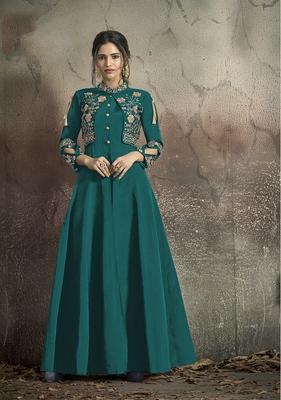 Teal-blue embroidered taffeta salwar