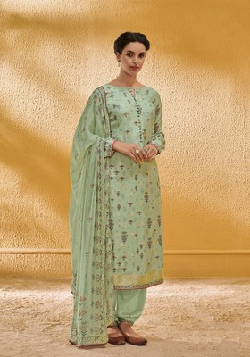 Light-parrot-green embroidered silk salwar