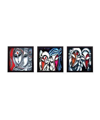 Set Of 3 Face Of Radha Krishna Satin Matt Texture UV Art Painting