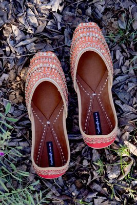 Orange and Red Wedding Shoes, Embellished Bridal Shoes, Beaded Indian Footwear