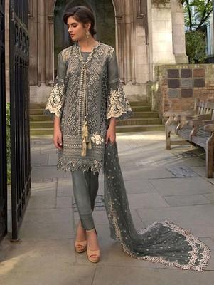 Grey Butterfly Net Pakistani Style Lawn Suit