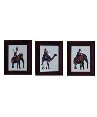 Set of 3 Animal Satin Matt Texture UV Art Painting