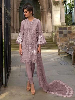 Light Pink Butterfly Net Pakistani Style Lawn Suit