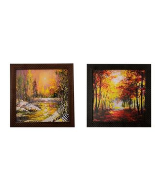 Set of 2 Natural Scenary Satin Matt Texture UV Art Painting