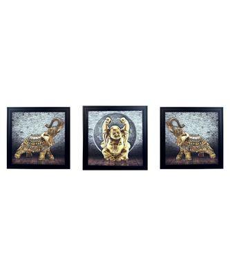 Set of 3 Buddha and Elephant Satin Matt Texture UV Art Painting