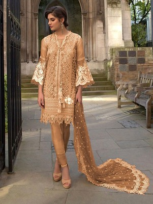 Light Salmon Butterfly Net Pakistani Style Lawn Suit
