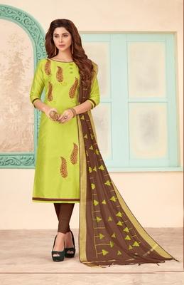 Light-parrot-green embroidered cotton salwar
