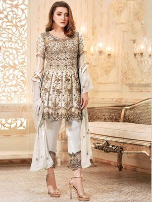White Heavy Net Embroidery Frock Top Style Suit